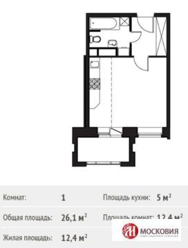 """1-комнатная квартира, 26 кв.м., в ЖК """"Видный Город"""""""