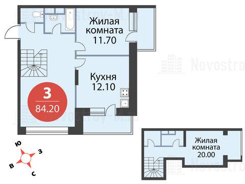 Павловская Слобода, 3-х комнатная квартира, ул. Красная д.д. 9, корп. 51, 9262000 руб.