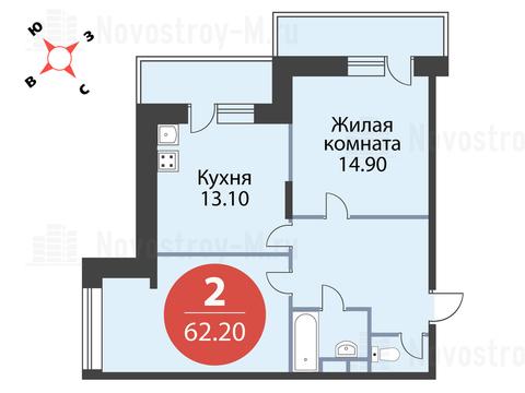 Павловская Слобода, 2-х комнатная квартира, ул. Красная д.д. 9, корп. 56, 5436280 руб.