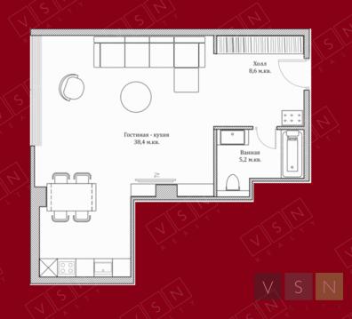 "1-комнатная квартира, 53 кв.м., в ЖК ""Резиденция Тверская"""