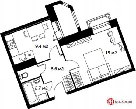 """1-комнатная квартира, 34 кв.м., в ЖК """"Видный Город"""""""