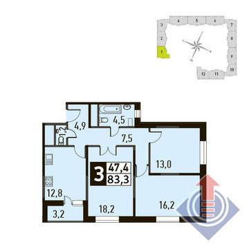 3-комнатная квартира, в ЖК Up! Квартал Новое Тушино