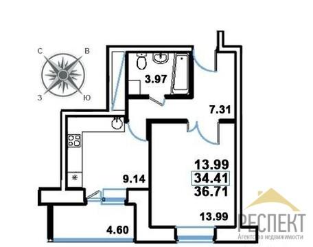 """1-комнатная квартира, 36 кв.м., в ЖК """"Рациональ"""""""