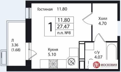 Студия 30.5м2, прописка Москва, 15 км от МКАД. Развитая инфраструктура