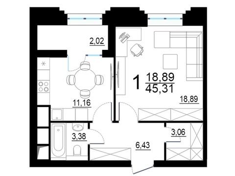 """1-комнатная квартира, 45 кв.м., в ЖК """"Родной город. Октябрьское поле"""""""