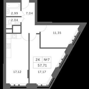 """2-комнатная квартира, 58 кв.м., в ЖК """"Спутник"""" (д. Раздоры)"""