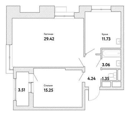 """2-комнатная квартира, 67 кв.м., в ЖК """"Пикассо"""""""