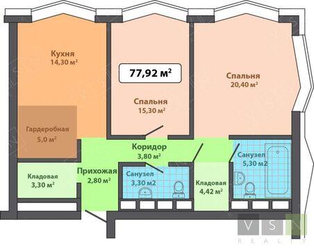 2-комнатная квартира, 82 кв.м.