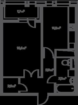 "1-комнатная квартира, 43 кв.м., в ЖК ""Дом на Нагатинской"""