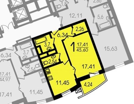 """1-комнатная квартира, 46 кв.м., в ЖК """"Лобачевский"""""""