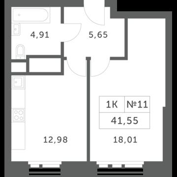 """1-комнатная квартира, 42 кв.м., в ЖК """"Спутник"""" (д. Раздоры)"""
