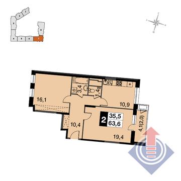 """2-комнатная квартира, 64 кв.м., в ЖК """"UP-квартал Скандинавский"""""""
