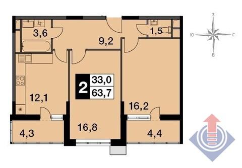 Балашиха, 2-х комнатная квартира, Энтузиастов Западная коммунальная зона ш. д., 4976900 руб.