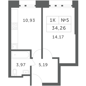 """1-комнатная квартира, 34 кв.м., в ЖК """"Спутник"""" (д. Раздоры)"""