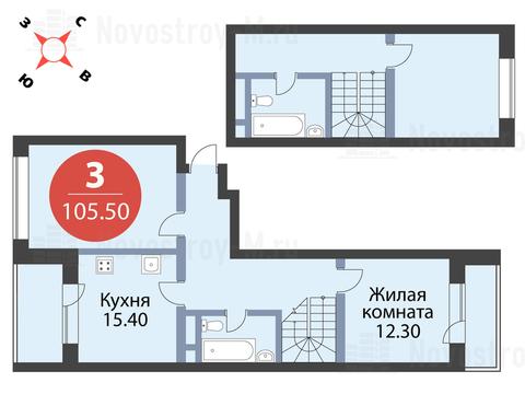 """3-комнатная квартира, 106 кв.м., в ЖК """"Сказка"""""""