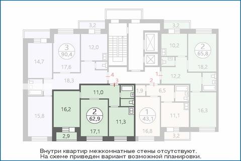 2-комн. квартира 61,5 кв.м. в новом ЖК, дом введен в эксплуатацию