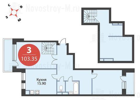 """3-комнатная квартира, 103 кв.м., в ЖК """"Сказка"""""""