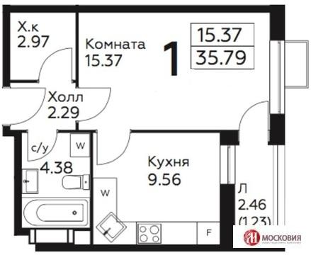 1 к кв 36м2 прописка Москва, 6 км от МКАД. Метро в пешей доступности.