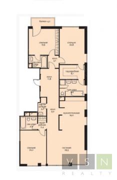 """4-комнатная квартира, 163 кв.м., в ЖК """"Садовые кварталы"""""""