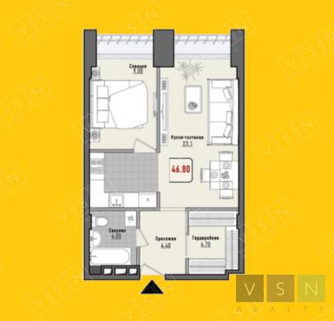 """2-комнатная квартира, 45 кв.м., в ЖК """"Парк Мира"""""""