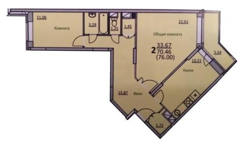 2-комнатная квартира, 76 кв.м., в ЖК «Кировский»