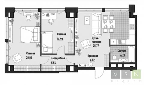 """3-комнатная квартира, 75 кв.м., в ЖК """"JAZZ"""""""