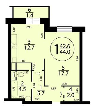 """1-комнатная квартира, 44 кв.м., в ЖК """"M-House"""""""