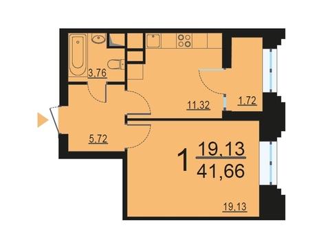 """1-комнатная квартира, 41 кв.м., в ЖК """"Родной город. Октябрьское поле"""""""