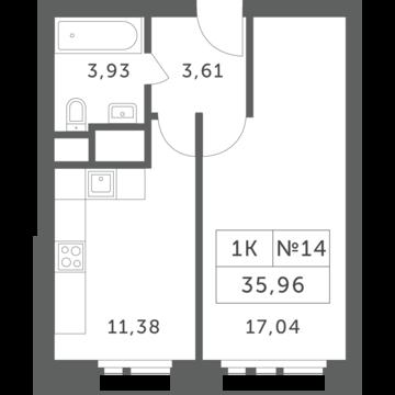 """1-комнатная квартира, 36 кв.м., в ЖК """"Спутник"""" (д. Раздоры)"""