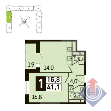 1-комнатная квартира, 41 кв.м., в ЖК Up! Квартал Новое Тушино