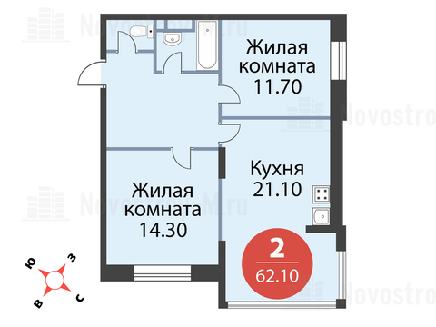 """2-комнатная квартира, 62 кв.м., в ЖК """"Сказка"""""""