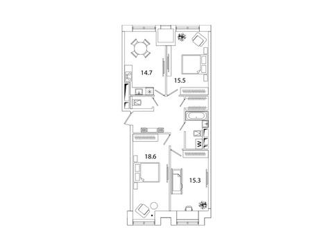 """Продается 3-к. квартира, 83,2 кв.м. в ЖК """"sreda"""""""