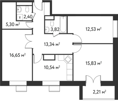 "3-комнатная квартира, 83 кв.м., в ЖК ""Дом на Сходненской"""