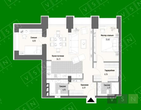 """3-комнатная квартира, 78 кв.м., в ЖК """"Парк Мира"""""""