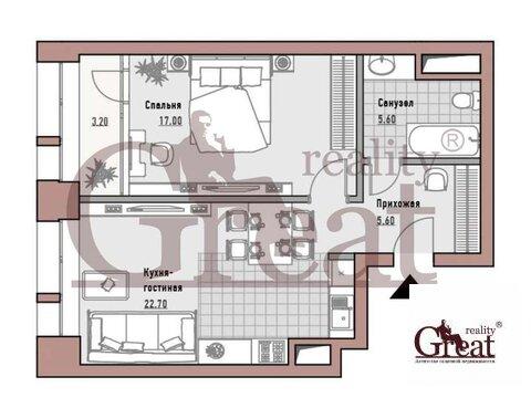 """1-комнатная квартира, 55 кв.м., в Элитный дом """"РЕНОМЭ"""""""