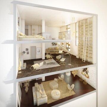 2-х уровневая квартира-студия площадью 128,10 кв.м. в ЖК Два дом