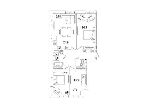 """Продается 3-к. квартира, 90,4 кв.м. в ЖК """"sreda"""""""