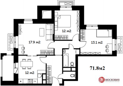 3 комнатная квартира 71.8м2, развитая инфраструктура. 5 км от МКАД.