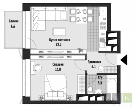 """2-комнатная квартира, 48 кв.м., в ЖК """"JAZZ"""""""
