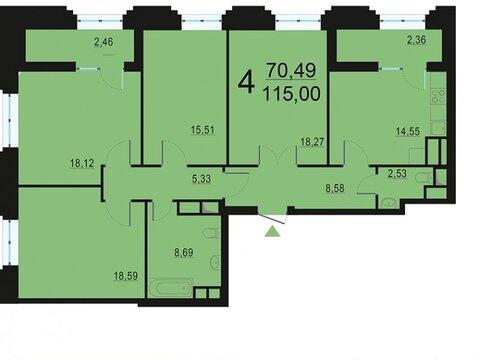 """4-комнатная квартира, 115 кв.м., в ЖК """"Родной город. Октябрьское поле"""""""