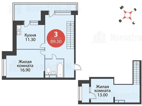 """3-комнатная квартира, 89 кв.м., в ЖК """"Сказка"""""""