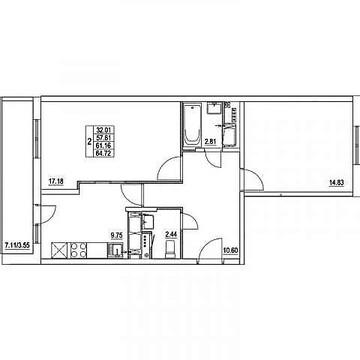 """2-комнатная квартира, 62 кв.м., в ЖК """"Мир Митино"""""""