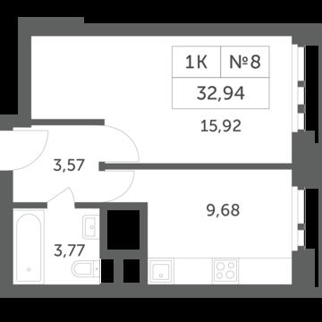 """1-комнатная квартира, 33 кв.м., в ЖК """"Спутник"""" (д. Раздоры)"""