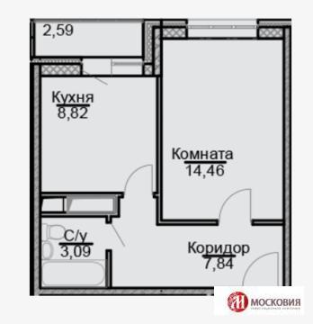 1-комнатная квартира, 34 кв.м., в ЖК «Эко-Квадрат»
