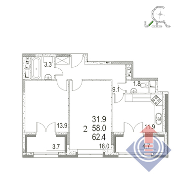 """2-комнатная квартира, 62 кв.м., в ЖК """"UP!КВАРТАЛ""""Римский"""""""