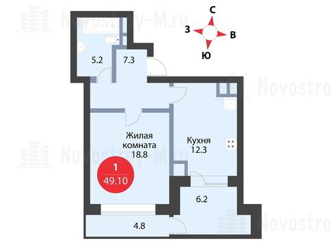 Павловская Слобода, 1-но комнатная квартира, ул. Красная д.д. 9, корп. 53, 5165320 руб.
