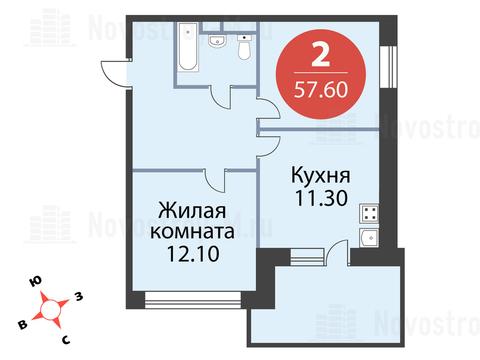 Павловская Слобода, 2-х комнатная квартира, ул. Красная д.д. 9, корп. 53, 5414400 руб.