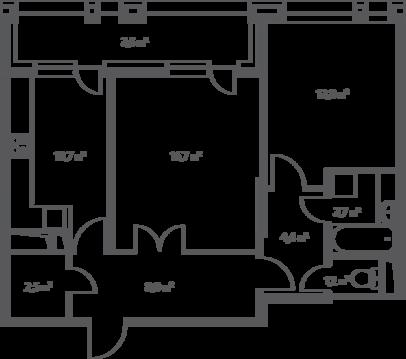 "2-комнатная квартира, 65 кв.м., в ЖК ""Дом на Нагатинской"""