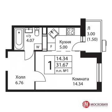 1-к квартира 32м2 с отделкой, 14 км от МКАД Калужское шосс