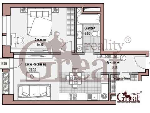 """1-комнатная квартира, 53 кв.м., в Элитный дом """"РЕНОМЭ"""""""